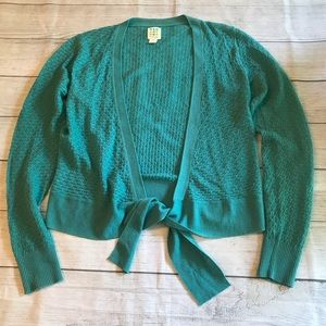 Title Nine Teal Washable Wool Tie Front Sweater